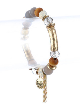Bracelet / Natural Stone Bead / Message Charm Stretch / Faith / Glass Bead / Matte Finish Metal / Hammered / Chain Tassel / 2 1/4 Inch Diameter / 1 1/4 Inch Drop / Nickel And Lead Compliant