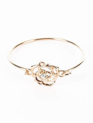Bracelet / Cutout Metal Rose / Bangle / Crytal Stone / Hook Closure / 2 1/8 Inch Diameter / 3/4 Inch Tall / Nickel And Lead Compliant