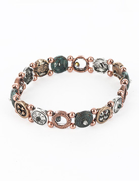 Bracelet / Aged Finish Metal / Stretch / Multi Tone / Textured Round Metal / Cutout / Metallic Bead / 2 1/2 Inch Diameter / 3/8 Inch Tall / Nickel And Lead Compliant