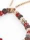 Bracelet / Natural Stone Bead / Adjustable Chain / Matte Finish Metal / Glass Bead / 2 1/8 Inch Diameter / 1/4 Inch Tall / Nickel And Lead Compliant