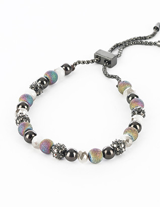 Bracelet / Iridescent Metal Bead / Adjustable Chain / Aged Finish Metal / Glass Bead / 2 1/8 Inch Diameter / 1/4 Inch Tall / Nickel And Lead Compliant