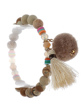 Bracelet / Natural Stone / Wooden Bead Stretch / Seashell Charm / Tassel / 2 1/8 Inch Diameter / 1/4 Inch Tall / Nickel And Lead Compliant