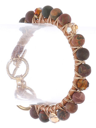 Bracelet / Natural Stone Bead / Double Cord / Iridescent Glass Bead / Interlaced Yarn / Matte Finish Metal / Toggle Closure / 2 1/3 Inch Diameter / 1/3 Inch Tall / Nickel And Lead Compliant