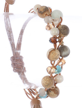 Bracelet / Natural Stone Bead / Adjustable / Iridescent Glass Bead / Metallic Bead / Interlaced Multi Cord / Faux Leather Tassel / 2 Inch Diameter / 2/3 Inch Tall / Nickel And Lead Compliant