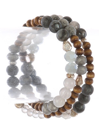 Bracelet / Natural Stone Bead / Stretch Wraparound / Iridescent Glass Bead / Metallic Bead / Wooden Bead / 22 Inch Long / Nickel And Lead Compliant