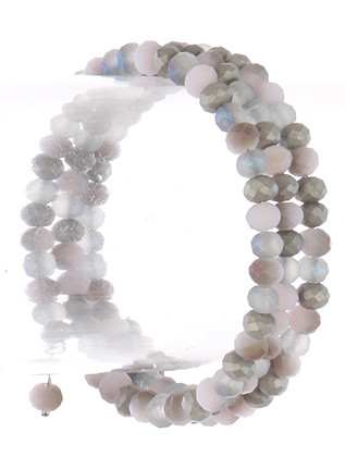 Bracelet / Natural Stone Bead / Coil Wire / 2 1/3 Inch Diameter / 2/3 Inch Tall / Nickel And Lead Compliant