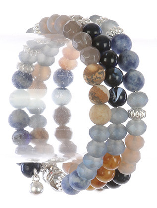 Bracelet / Natural Stone Bead / Coil Wire / Iridescent Glass / Metallic Bead / 2 1/4 Inch Diameter / 1 1/4 Inch Tall / Nickel And Lead Compliant