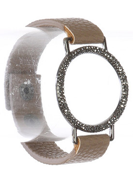 Bracelet / Textured Metal Ring / Faux Leather Band / Aged Finish / Metallic Stone / Snap Button Closure / Adjustable / 7 Inch Long / 1 1/2 Inch Tall / Nickel And Lead Compliant