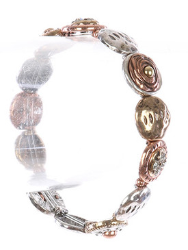 Bracelet / Aged Finish / Hammered Metal Stretch / Round / Textured / Three Tone / Crystal Stone / 2 1/2 Inch Diameter / 1/2 Inch Tall / Nickel And Lead Compliant