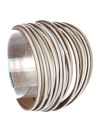 Bracelet / Multi Strand / Faux Leather Band / Layered / Magnetic Closure / 7 Inch Long / 1 Inch Tall / Nickel And Lead Compliant