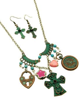 Heart Cross Lock Clock Necklace and Earring Set - Pink Heart and Star