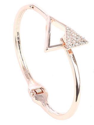 Bracelet / Pave Crystal Stone / Hinged Metal Bangle / Triangle / Hook Closure / 2 3/8 Inch Diameter / 7/8 Inch Tall / Nickel And Lead Compliant