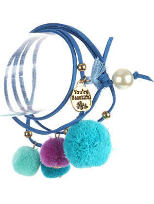 Bracelet / Pompom Charm / Faux Suede Wraparound / Message Metal Charm / You'Re Beautiful / Pearl / Metallic Bead / Tassel / 34 Inch Long / Nickel And Lead Compliant
