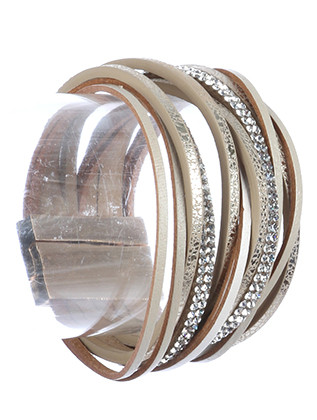 Bracelet / Multi Strand / Faux Leather Band / Metallic Finish / Pave Crystal Stone / Magnetic Closure / 7 Inch Long / 1 1/4 Inch Tall / Nickel And Lead Compliant