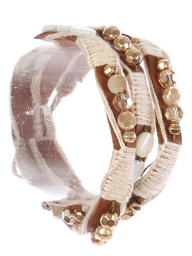 Bracelet / Yarn Wrapped / Faux Leather Wraparound / Glass Bead / Metallic Bead / Button Closure / 22 Inch Long / Nickel And Lead Compliant