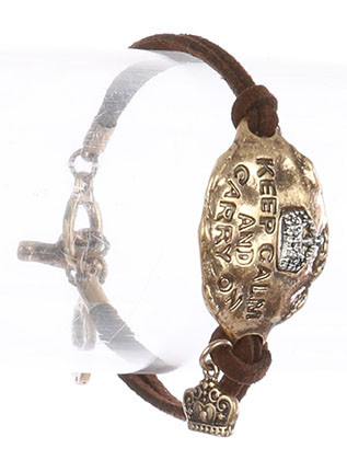 Bracelet / Aged Finish Metal / Faux Suede Message / Keep Calm And Carry On / Hammered / Two Tone / Crown Charm / Double Strand / Toggle Closure / 7 Inch Long / 7/8 Inch Tall / Nickel And Lead Compliant