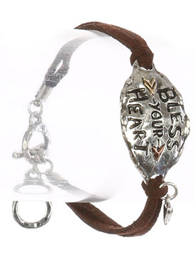 Bracelet / Aged Finish Metal / Faux Suede Message / Bless Your Heart / Hammered / Two Tone / Arrow / Heart Charm / Double Strand / Toggle Closure / 7 Inch Long / 7/8 Inch Tall / Nickel And Lead Compliant
