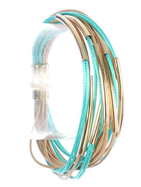 Bracelet / Hollow Curved Metal / Multi Cord Strand / Magnetic Closure / 7 Inch Long / 1/2 Inch Tall / Nickel And Lead Compliant