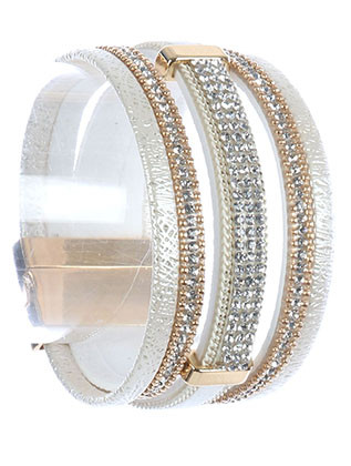 Bracelet / Multi Strand / Band / Pave Crystal Stone / Metallic Cord / Chain / Magnetic Closure / 7 1/2 Inch Long / 1 1/3 Inch Tall / Nickel And Lead Compliant