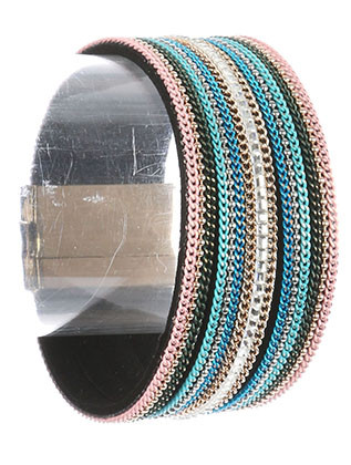 Bracelet / Color Chain / Multi Strand Band / Iridescent Bead / Magnetic Closure / 7 1/2 Inch Long / 1 1/4 Inch Tall / Nickel And Lead Compliant