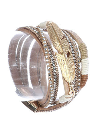 Bracelet / Feather Metal / Three Strand Wraparound Band / Matte Finish / Textured / Faux Leather / Pave Crystal Stone / Metallic Bead / Chain / Magnetic Closure / 14 Inch Long / 1/2 Inch Tall / Nickel And Lead Compliant