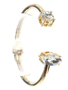 Bracelet / Double Faceted Stone / Metal Hinge Cuff / Round Cut / Marquis Cut / 2 1/4 Inch Diameter / Nickel And Lead Compliant