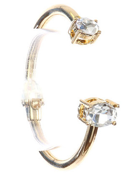 Bracelet / Double Faceted Stone / Metal Hinge Cuff / Round Cut / Oval Cut / 2 1/4 Inch Diameter / Nickel And Lead Compliant