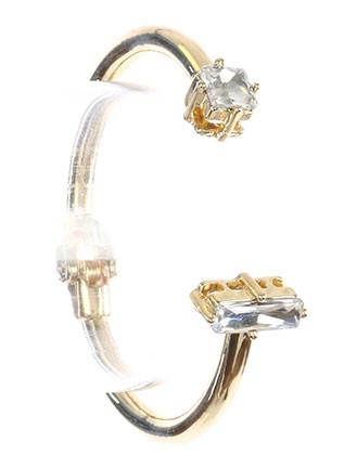 Bracelet / Double Faceted Stone / Metal Hinge Cuff / Princess Cut / Baguette Cut / 2 1/4 Inch Diameter / Nickel And Lead Compliant