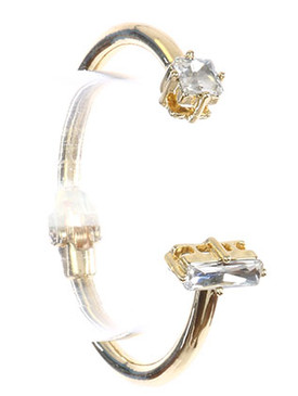Bracelet / Double Faceted Stone / Metal Hinge Cuff / Princess Cut / Baguette Cut / 2 1/4 Inch Diameter / Nickel And Lead Compliant