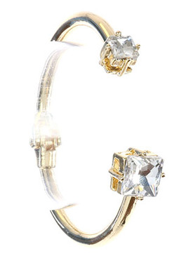 Bracelet / Double Faceted Stone / Metal Hinge Cuff / Princess Cut / 2 1/4 Inch Diameter / Nickel And Lead Compliant