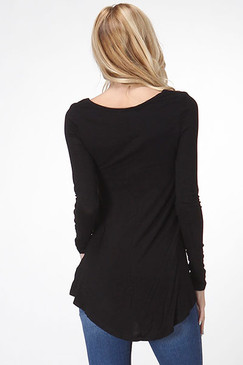 Hi-Low Long Sleeve Top - Black