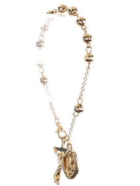 Bracelet / Saint Mary Jesus Charm / Prayer Chain / Cross / Metallic Bead / Metal Setting / 7 Inch Long / 1 Inch Drop / Nickle And Lead Compliant