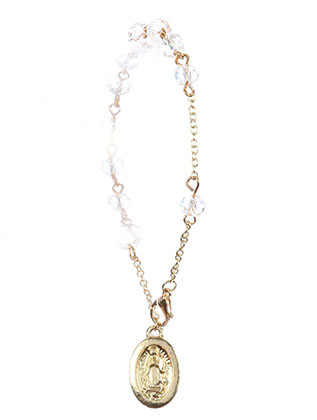 Bracelet / Saint Mary Jesus Charm / Prayer Chain / Glass Bead / Metal Setting / 7 Inch Long / 7/8 Inch Drop / Nickle And Lead Compliant