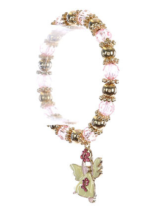 Bracelet / Breast Cancer Awareness / Angel Charm Stretch / Epoxy Coated Metal / Pink Ribbon / Heart / Crystal Stone / Glass / Metallic Bead / 2 1/3 Inch Diameter / 1 1/3 Inch Drop / Nickel And Lead Compliant