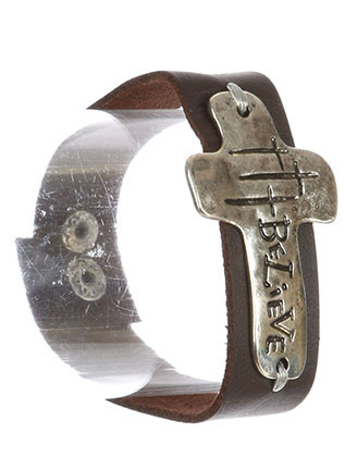 Bracelet / Message Charm / Faux Leather Band / Believe Cross / Crosses / Aged Finish / Hammered Metal / Snap Button Closure / 8 Inch Long / 1 1/4 Inch Drop / Nickel And Lead Compliant