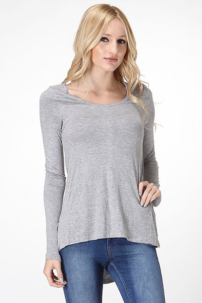 Hi-Low Long Sleeve Top - Grey