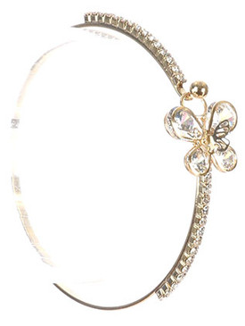 Bracelet / Crystal Stone / Butterfly Cutout / Rhinestone / Wedding Formal / Metal Hook Closure / 2 1/4 Inch Diameter / 1/2 Inch Tall / Nickel And Lead Compliant