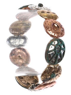 Bracelet / Hammered Metal / Stretch / Textured / Multi Tone / Aged / Matte Finish / 2 1/3 Inch Diameter / 3/4 Inch Tall / Nickel And Lead Compliant