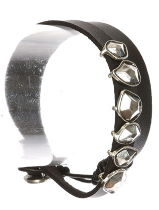 Bracelet / Faceted Metallic Charm / Faux Leather Wrapround / Aged Finish Metal / Faux Rubber Cord / Button Loop Closure / 15 Inch Long / 3/8 Inch Tall / Nickel And Lead Compliant