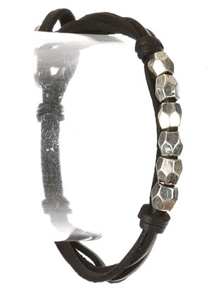 Bracelet / Multi Strand / Knotted Faux Leather / Aged Finish / Metallic Bead / Button Loop Closure / 8 Inch Long / 1/4 Inch Tall / Nickel And Lead Compliant