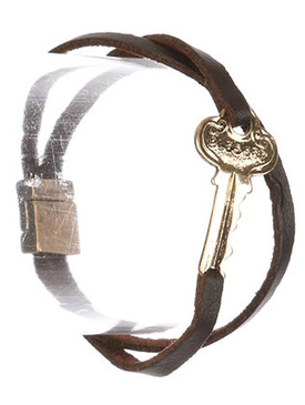Bracelet / Aged Finish Metal / Message Key / Blessed / Faux Leather / Double Strand / Magnetic Closure / 7 1/2 Inch Long / 1 Inch Tall / Nickel And Lead Compliant