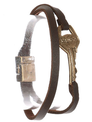 Bracelet / Aged Finish Metal / Message Key / Strength / Faux Leather / Double Strand / Magnetic Closure / 7 1/2 Inch Long / 1 Inch Tall / Nickel And Lead Compliant