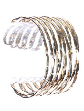 Bracelet / Hammered Metal Layer / Cuff / 2 2/3 Inch Diameter / 1 1/2 Inch Tall / Nickel And Lead Compliant