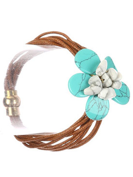 Bracelet / Natural Stone Flower / Multi Cord / Magnetic Closure / 7 1/2 Inch Long / 1 1/2 Inch Tall / Nickel And Lead Compliant