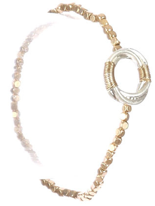 Bracelet / Matte Finish Metal / Ring Charm Stretch / Wire Wrapped / Mini Metallic Bead / Two Tone / 2 1/2 Inch Diameter / 5/8 Inch Tall / Nickel And Lead Compliant