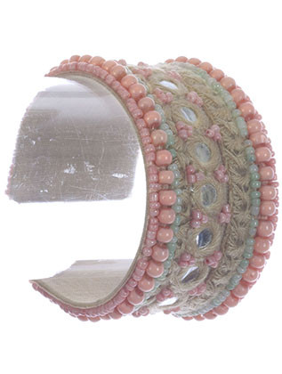 Bracelet / Woven Yarn / Beaded Bendable Metal Cuff / Fabric Covered / Mirror Finish / Seed Bead / 2 1/8 Inch Diameter / 1 5/8 Inch Tall / Nickel And Lead Compliant