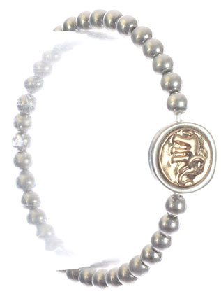 Bracelet / Elephant Charm / Metallic Bead Stretch / Matte Finish / Hammered Metal / Two Tone / 2 1/8 Inch Diameter / 5/8 Inch Tall / Nickel And Lead Compliant