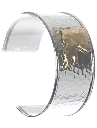 Bracelet / State Of Louisiana / Hammered Metal Cuff / Two Tone / 2 1/2 Inch Diameter / 1 1/4 Inch Tall / Nickel And Lead Compliant