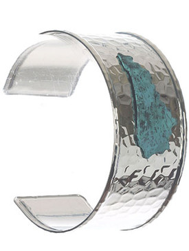 Bracelet / State Of Kentucky / Hammered Metal Cuff / Two Tone / Aged Finish / 2 1/2 Inch Diameter / 1 1/4 Inch Tall / Nickel And Lead Compliant