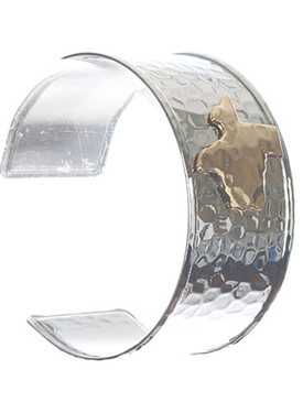Bracelet / State Of Texas / Hammered Metal Cuff / Two Tone / 2 1/2 Inch Diameter / 1 1/4 Inch Tall / Nickel And Lead Compliant